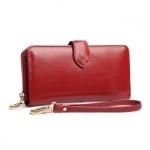 กระเป๋าสตางค์หนังแท้ สตรี ทรงยาว หนังนุ่ม สีแดง มีซิป